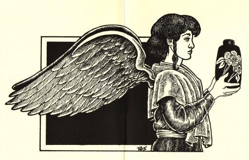 RAS+2002+Art Nouveau Angel+Pen & ink+