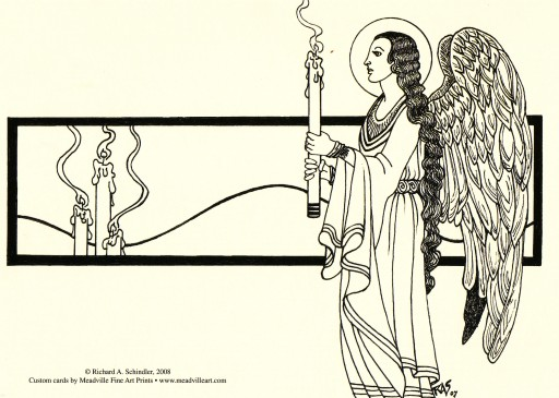 RAS+2008+Angel with Candles+Pen & ink+