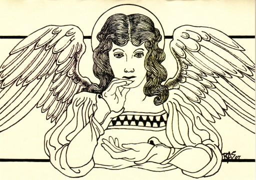 RAS+2008+Pensive Angel+Pen & ink+