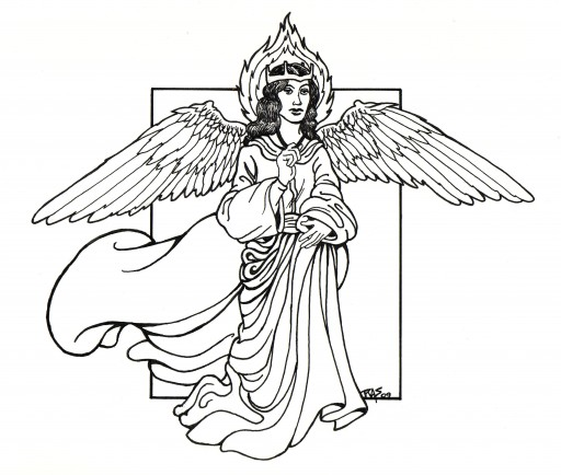 RAS+2009+Angel with Flaming Halo+Pen & ink+