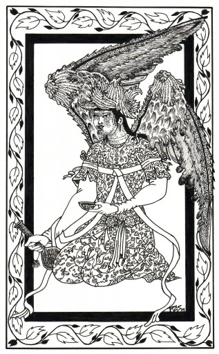 RAS+2009+Persian Angel with Flask & Bowl+Pen & ink+